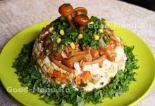 Курица - рецепт салата Грибная поляна