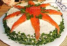 Закуска - блинный торт с семгой