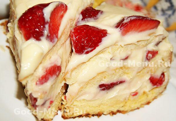 сметанный торт с клубникой рецепт с выпечкой