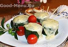 Кабачки, фаршированные сыром