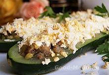 Овощные блюда - кабачки фаршированные грибами