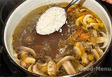 Сырный суп с грибами и рисом