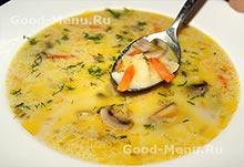 Суп из плавленного сыра с шампиньонами